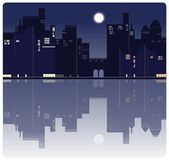 En amerikansk nattstadsbakgrund vektor illustrationer