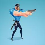 En amerikansk polis siktar hans vapen på den föregav lagbrytaren Arkivfoto