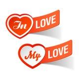 En amor, mis escrituras de la etiqueta del amor Imagen de archivo libre de regalías