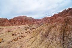 En annan planet som terräng av den Tatacoa öknen Arkivfoto