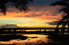 En annan spektakulär solnedgång Arkivbilder