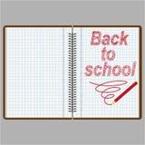 En anteckningsbok eller en dagbok med sidor i en ask med en röd blyertspenna royaltyfri illustrationer