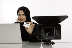 En arabisk student Intern With en Showreel Royaltyfri Fotografi