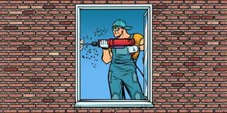 En arbetare installerar ett fönster som borrar en vägg royaltyfri illustrationer