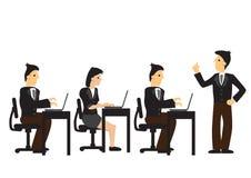 En arbetsgivare som ger anvisningar till hans grupp av anställda Begrepp av ledarskap, den yrkesmässiga organisationen eller prod stock illustrationer