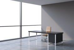 En arbetsplats i ett modernt panorama- kontor, kopieringsutrymmesikt från fönstren Ett begrepp av finansiell konsulterande servic royaltyfri illustrationer