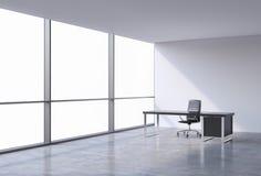 En arbetsplats i ett panorama- kontor för modernt hörn, kopieringsutrymme på fönster En svart läderstol och en svart tabell Ett b vektor illustrationer