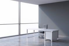 En arbetsplats i ett panorama- kontor för modernt hörn, kopieringsutrymme på fönster Ett begrepp av finansiell konsulterande serv vektor illustrationer
