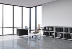En arbetsplats i ett panorama- kontor för modernt hörn med kopieringsutrymme i fönstren Ett svart skrivbord med en bärbar dator,  royaltyfri illustrationer