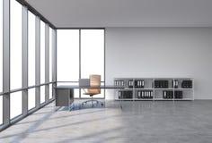 En arbetsplats i ett panorama- kontor för modernt hörn med kopieringsutrymme i fönstren Ett svart skrivbord med en bärbar dator,  stock illustrationer