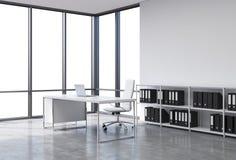 En arbetsplats i ett panorama- kontor för modernt hörn med kopieringsutrymme i fönstren Ett vitt skrivbord med en bärbar dator, s royaltyfri illustrationer