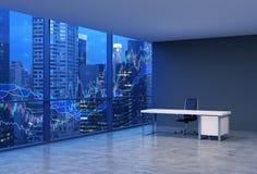En arbetsplats i ett panorama- kontor för modernt hörn med New York aftonsikt och forexen kartlägger En svart läderstol och en vi vektor illustrationer