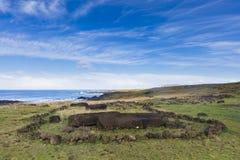 En arkeologisk plats på kusten Arkivbild