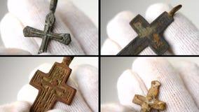 4 en 1 Arqueológico encuentre el primer cruzado pectoral cristiano en manos almacen de video