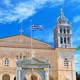 en arquitectura de Cícladas Grecia de los paros la vieja y el th griego del pueblo Fotografía de archivo