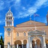 en arquitectura de Cícladas Grecia de los paros la vieja y el th griego del pueblo Foto de archivo