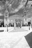 en arquitectura de Cícladas Grecia de los paros la vieja y el th griego del pueblo Fotos de archivo