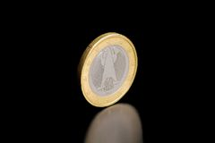 En arrière d'une euro devise allemande d'isolement Photographie stock