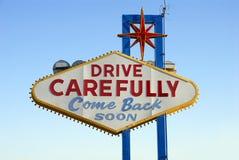 En arrière de l'accueil célèbre au signe de Las Vegas Photos libres de droits