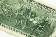 En arrière d'un billet de deux dollars Images libres de droits