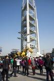 En Asia, China, Pekín, parque olímpico, funcionamientos grandes del desfile del  del horse†del dragón de la maquinaria de Fran Fotos de archivo libres de regalías