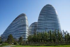 En Asia, Pekín, China, arquitectura moderna, SOHO de Wangjing Imagenes de archivo