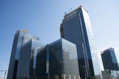 En Asia, Pekín, Wangjing, China, arquitectura moderna, centro verde Imagen de archivo libre de regalías