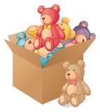 En ask mycket av leksaker Royaltyfri Foto