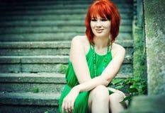 Redheaded flicka Fotografering för Bildbyråer