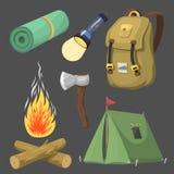 En augmentant le voyage extérieur de vitesse de camp de base d'équipement de camping et de bande dessinée d'accessoires dirigez l Photos libres de droits