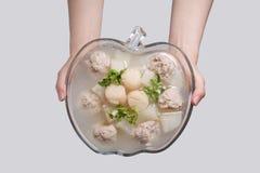 Kinesiska soups - kammusslapork klumpa ihop sig rovasoup Royaltyfria Foton