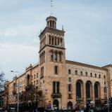 En av byggnaderna på den huvudsakliga gatan av Tbilisi Fotografering för Bildbyråer