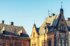 En av de många härliga byggnaderna på St Vitus Cathedral, Prag Arkivbilder