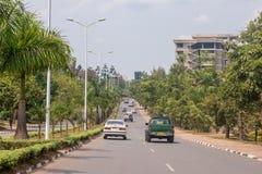 En av de mest rena städerna i Afrika, Kigali Arkivbild