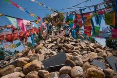 En av den berömda tibetana buddistiska templet ---- Miao Temple av Mani Dui obo royaltyfri foto