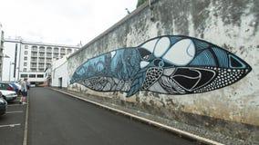 En av gator i mitt av Ponta Delgada Royaltyfria Bilder