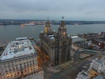 En av Liverpools som förbluffar iconic byggnader Arkivbild