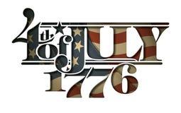 En avant du coupe-circuit de lettrage de juillet 1776 Photo stock