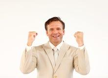 en avant regardant l'aîné de gestionnaire souriant directement photo stock