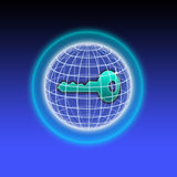 Säker nyckel- kryptering knyter kontakt Arkivfoto