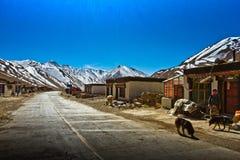 En avlägsen sydlig tibetan by med berg Arkivfoto