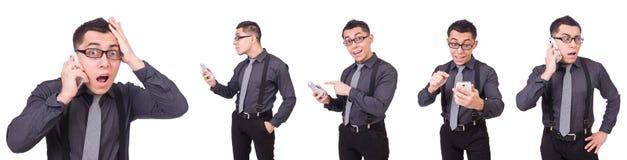 En bärande dräkt för ung man som isoleras på vit Fotografering för Bildbyråer