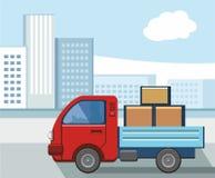 En bärande last för liten lastbil i staden royaltyfri illustrationer