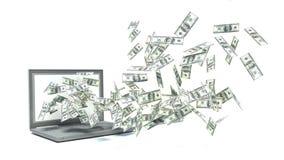 En bärbar dator gör pengar stock illustrationer