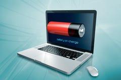 En bärbar dator med batteriet på skärmen Royaltyfri Fotografi