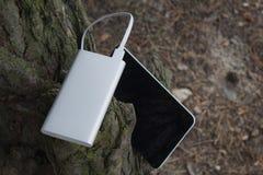 En bärbar uppladdare laddar minnestavlan Driva banken med kabel mot bakgrunden av naturen och trä arkivfoton