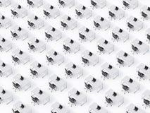 En bästa sikt av de symmetriska företags arbetsplatserna på det vita golvet Ett begrepp av företags liv i ett enormt transnatione stock illustrationer