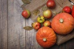 En bästa sikt av ljusa två ljusa pumpor och färgrika äpplen på en lantlig torkduk på en träbakgrund kopiera avstånd Arkivfoto
