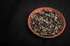 En bästa sikt av svarta vinbär i en träkorg Nya svarta vinbär på en mörk bakgrund Söta svarta bär mycket av vitaminer Royaltyfri Foto