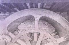 En bakgrund f?r kuggar och hjul och tung teknik royaltyfri bild
